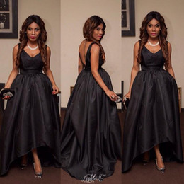 c8f4696480 Sexy Black V-Neck Sleeveless Prom Dresses 2016 Hi-Lo Low V Cut Backless  Short Satin Evening Party gowns Robe de soriee Mother Formal Wear