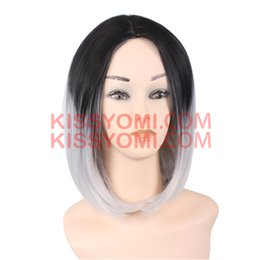 girl short hair bangs NZ - Cosplay Wig Short Bob Hair Wigs Side Bang Wig for Black Ombre Granny Grey Colorful Women Synthetic Wig