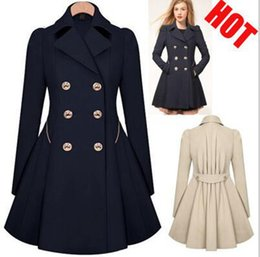 Discount Women Double Breasted Peacoat | 2017 Women Double ...