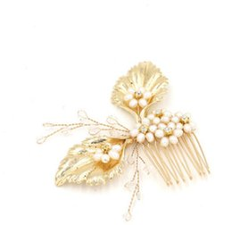 $enCountryForm.capitalKeyWord UK - Vintage Wedding Headpieces Hair Accessories Golden Leaf Comb With Pearls Rhinestones Women Hair Jewelry Bridal Jewelry BW-HP408