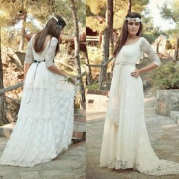hot sell 2016 full lace boho wedding dresses cheap scoop illusion half sleeves with sash long bridal gowns country summer beach custom made