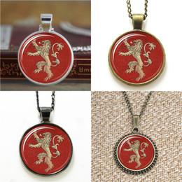 Lion pendant chains online shopping - 10pcs Lannister Lion Sigil Game of Tones glass Necklace keyring bookmark cufflink earring bracelet
