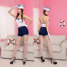 Tenue De Marin Halloween Pas Cher-2016 New Adult Womens Sexy Halloween Party Navy Costumes Outfit Fancy Sailor Cosplay Robes Taille M Avec Chapeau