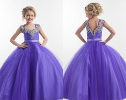 Wholesale Purple Flower Girl Robes Square Neckline Cristaux Sparkly Beaded Tulle Floor Length Open Back Robe de fête d anniversaire Robe Pagent Ball Gown