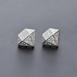 $enCountryForm.capitalKeyWord Canada - Hip Hop Iced Out CZ Diamond Silver Gold Cool Men Stud Earrings for Women Men Jewelry Vintage Women Earrings Couples
