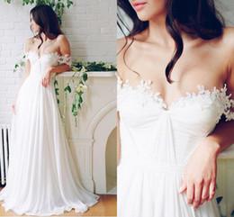 $enCountryForm.capitalKeyWord NZ - Vintage White Chiffon A Line Wedding Dresses Simple Applique Lace Off Shoulder Bridal Gowns Beach Skirts Custom Made Cheap 2017