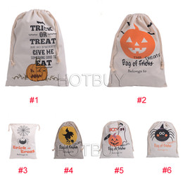 $enCountryForm.capitalKeyWord Canada - New 6 style Halloween Sacks Canvas Cotton Drawstring Personalized Print Children Candy Gifts Bag Party Pumpkin Bag #4096