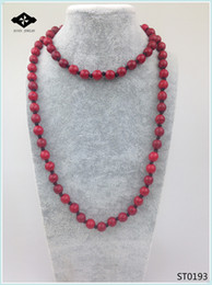 748b7b0ebdd4 ST0196 32 pulgadas Collar Largo Anudado Color Facted Stone Royal Blue  Purple Green Semi Precious Stone Necklace para mujeres