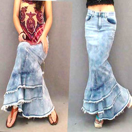 Womens Winter jeans online shopping - Bohemia Fashion Vintage Sex Stitching Female Jeans Denim Maxi Skirt Casual Novel Mermaid Fshtail Dark blue Long Skirts Womens