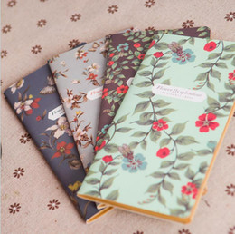Discount pocket spiral notebook Vintage Fresh Style Flower Floral Kraft Paper Mini Notebook Pockets Notepad Diary Memo Office School Stationery baby Gif