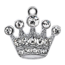 Free Shipping! 10 Silver Tone Rhinestone Crown Charm Pendants 21x20mm (B10355) wholesale jewelry findings making hot sale on Sale
