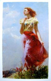 "oil portrait frames UK - Amazing High Quality genuine Pure Hand Painted Portrait Art oil Painting On Thick Canvas in Multi size,,PINO DAENI ""WINDSWEPT"""