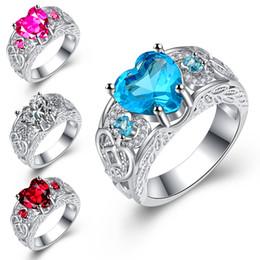 engagement ring finger for female 2019 - 4 Color Luxury Heart Love Design Finger Rings 925 Silver Cubic Zorconia Wedding Band Rings For Women Female Hot Sale Kor