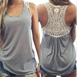 $enCountryForm.capitalKeyWord Canada - 2016 Europe and the United States Casual Loose Women Tanks Sexy Sheer Lace Back Sleeveless Striped Cotton Gray Women Tees Cheap T Shirts