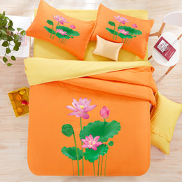 $enCountryForm.capitalKeyWord Australia - 3D Lotus Leaves orange color bedding sets cotton print 4pcs brief luxury hotel morden duvet cover bedsheet mattress free shipping