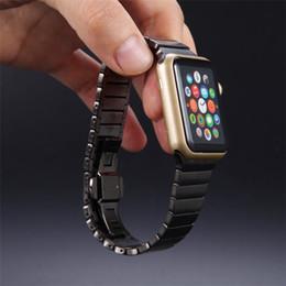 $enCountryForm.capitalKeyWord Canada - ZLIMSN Bracelet Band Luxury For Apple Watch Link 42mm 38mm Black Silver Stainless Steel Original Banda For Iwatch Watchbands