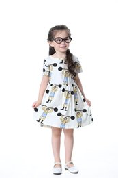 China MIni rodini style Summer Baby Girls Princess Dress cartoon cute princess Dress cotton Weightlifting print clothes for 2T-9T tops suppliers
