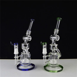"$enCountryForm.capitalKeyWord Canada - Two Function Big Water Bongs Matrix Perc Double Recycler Oil Rigs 11"" inch Glass Hookahs Green Blue Base and Lip Wrapped Bubblers"