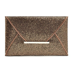 Chinese  Luxury shiny hand bags big envelope clutch bag glitter ladies wedding bags evening bags for women party black purse handbag 3 Colors manufacturers
