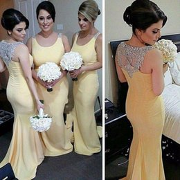 Vestidos De Dama De Honor Con Cuentas De Color Amarillo Baratos-2016 luz amarilla sirena vestidos largos de dama de honor Scoop Sweep Train gasa vestidos de baile con cuentas de cristal Blingbling dama de honor vestido barato