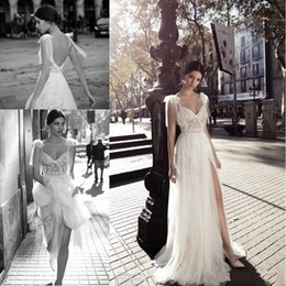 Sexy front deSignS dreSSeS online shopping - 2018 New Designed A Line Wedding Dresses Sheer Tulle V Neck with Side Split Floor Length Lace Tulle Backless Bridal Gowns