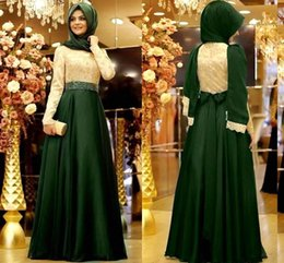long sleeve chiffon party dress hijab 2019 - 2017 Arabic Middle East Muslim Long Sleeves Evening Dresses Lace Top Beaded Waistband Chiffon Floor Length Party Prom Dr