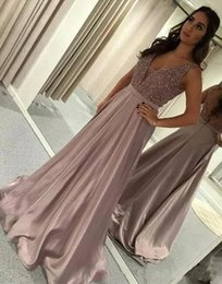 Sparkle Beaded Crystals Satin A Line Vestidos de baile Vestidos de fiesta sin respaldo con cuentas Top Backless Formal Red Carpet Runway Vestidos