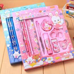 $enCountryForm.capitalKeyWord Canada - High quality Cartoon Student School Stationery Suppliers Set Pencils+Ball-point Pen+Pencil Sharpener+Scissors+Rubber+Glue+Ruler For Boy Girl