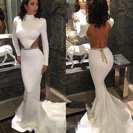 Long Summer Dresses Cuts Side Canada - Sexy Backless 2016 Prom Dresses with Long Sleeves High Neck Side Cut Gold Beading Sweep Train White Satin Formal Evening Gowns for Pageant
