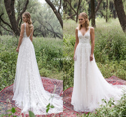 Sheath romantic wedding dreSSeS online shopping - Romantic Limor Rosen A Line Wedding Dresses Deep V Neck Lace Vintage Garden Beach Bridal Gowns Bohemia