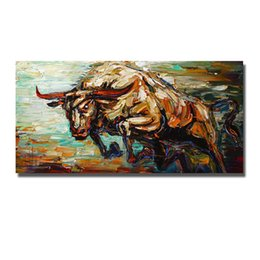 chinese famous paintings UK - 100% hand painted high quality cheap price chinese famous running cow oil painting canvas cow wall pictures for living room