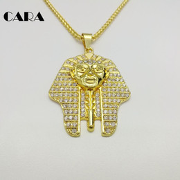 pharaoh pendants 2019 - CARA New Men Bling Bling Full Rhinestone Egyptian Pharaoh Pendants Necklaces men hip hop Necklaces Gold color Zinc alloy