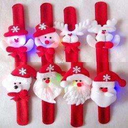 Watch Long Bracelet Canada - Fashion Santa Claus LED Pat circle bracelet Milu deer snowman Christmas decorations watch for children wristband christmas gift Free FedEx