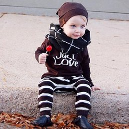 Letras De Niño Baratos-Autumn Infant Baby Infants Baby Suit Traje de Invierno Letters Printed Long Sleeve Tops Tees + Pantalones Rayados Kids 2pcs Set Children Outfits 12350