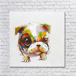 Square Picture Frames Canada - Cute Pet Dog Painting Pictures Without Wooden Frame Modern Handicrafts Good Quality Bedroom Decoration Pet Dog OIl Painting