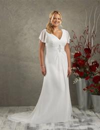 $enCountryForm.capitalKeyWord NZ - Elegant Style Long Beach Wedding Dresses Short Sleeve V Neck Beaded Pleated Chiffon Summer Bridal Gowns Custom Made