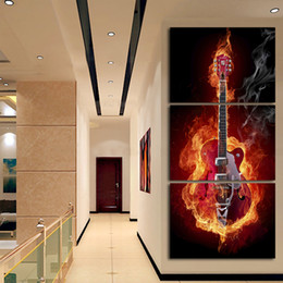 $enCountryForm.capitalKeyWord Canada - Music Art 3 Panel Wall Painting Modern Home Decors Black Burning Guitar Pop Art Pictures Decoration On Canvas Painting Printed,No frame