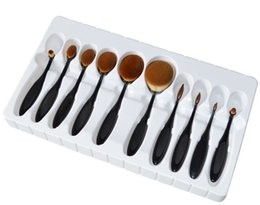 toothbrush makeup brushes UK - Professional Makeup brush Oval Toothbrush Women 10pcs Foundation Eye Shadow Blusher Soft Curve Brushes Foundation Cosmetic Tools DHL FREE