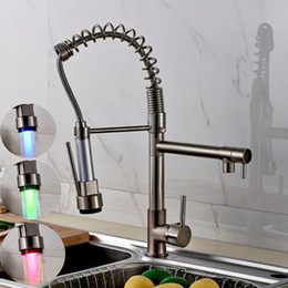 vessel mixer tap UK - Kitchen Sink Faucet LED Spray Pull Down Deck Mount Nickel Vessel Sink Mixer Tap