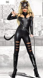 Wholesale Black patent leather tights Siamese cat girl Woman Superhero Cosplay Halloween day catwoman Costume masked sexy costumes