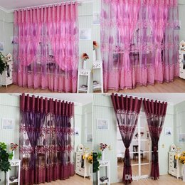 1Pc Luxurious Upscale Jacquard Yarn Curtains Tulle Voile Door Pink Purple  Window Curtains Syeer Sheer Curtains E00619 SPDH