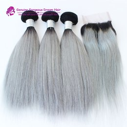 Ombre Human Hair Extensions Closure Canada - 3 bundles with closure brazilian human hair ombre gray straight silver grey hair extensions grey weft weave bundles with closure