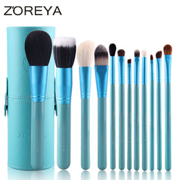 tool sets for women Australia - Zoreya Brand Hot Sales 12pcs Natural Goat Hair Makeup Brushes for Women Professional Cosmetic Tool Makeup Powder Brush Set