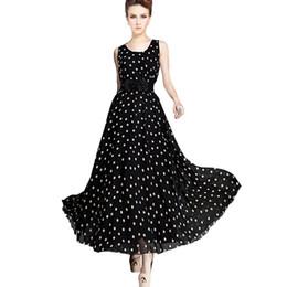 $enCountryForm.capitalKeyWord Canada - Fashion Women Clothing Polka Dot Print Dress Full Length Expansion Skirt Fashion Elegant Black Sleeveless Chiffon Dress Plus Size