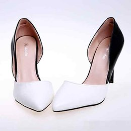 Discount peep toe black evening shoes - Fashion Office Career Women's Party Evening Wedding Bridal Shoes 9CM Heels PU White and Black Patent leather Shoes