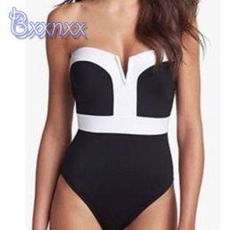 $enCountryForm.capitalKeyWord NZ - Hot Sale New Black White Patchwork One Piece Swimsuit Women Push Up Swimwear Backless 1 Piece Bathing Suit Sexy Beach Swim Wear