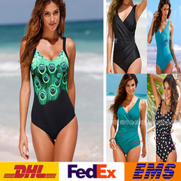 Barato Roupas De Praia-DHL Sexy Impresso Bodycon Bikini Beach Swimwears One Piece Swimsuits Backless Conservative Bathing Suits 2XL SPA Bikini WX-S15
