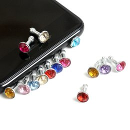 Venta al por mayor 5000 unids / lote Diamond Dust Plug Universal 3.5 mm enchufe del teléfono celular encantos cap para iphone 4s 5s 5c 6 7 samsung nota 3 S4 ipad mini dp03 en venta