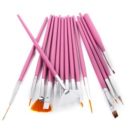Barato Pincéis De Desenho Ao Atacado-Atacado- 15Pcs Pink Nail Art Polish Drawing Painting Brush Dotting Tools Set Supplies