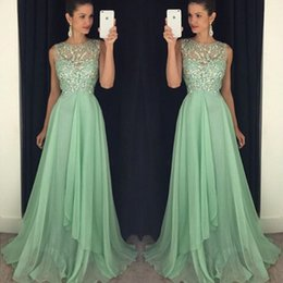 Vestidos Largos Del Baile De Fin De Curso Baratos-Sparkly Mint Verde Prom Dressess Sheer cuello sin mangas de lujo rebordeado Top Evening Evening Dress Prom Long Formal Pagaent vestidos de gasa